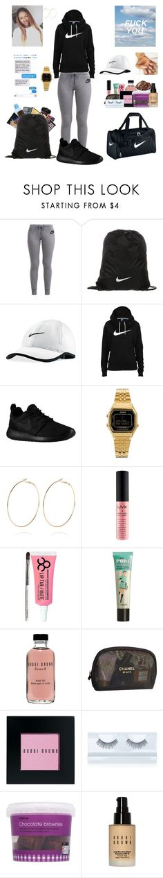 """Untitled #289"" by essence-boyd ❤ liked on Polyvore featuring NIKE, Casio, River Island, NYX, Obsessive Compulsive Cosmetics, Benefit, Bobbi Brown Cosmetics, Chanel and Gorgeous Cosmetics"