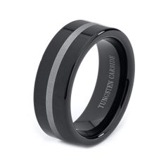Mens Tungsten Carbide Wedding Band Ring 8mm Black by GiftFlavors, $44.77