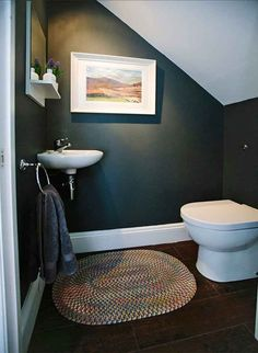 Toilet under staircase with black and dark walls (claustrophobic)