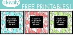 FREEBIES // GOOD FOR THE SOUL - Oh So Lovely Blog