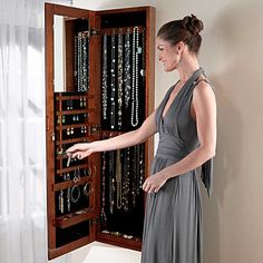 Exquisite Jewelry Armoire with Quilted Pullout Storage - Espresso ...