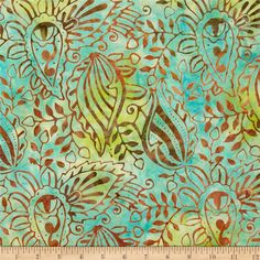 ... Batiks Large Paisley Aqua - Discount Designer Fabric - Fabric.com