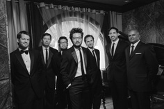 """Classy groomsmen black and white. Lit with 60"""" octabox above groom  Don Wright Designs & Photography 