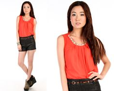 Crosby Embellishment Top in Coral