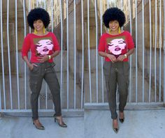 JUNE 2, 2015 Red 'Marilyn Monroe' top (Betsyville); Green cargo pants with pull string (H&M); Camo pumps (Guess).