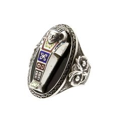 Art Deco Sterling Silver Sarcophagus Ring