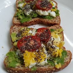 Avocado Toast: Take half a slice of whole wheat bread, smear with one tablespoon avocado, and top with sliced or mashed hard-boiled egg, two slices of tomato, and an eighth-teaspoon sprinkling of chia seeds.