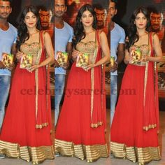 Sruti Hassan in Red Lehenga | Saree Blouse Patterns