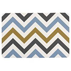 Zigzag Pattern Blue Gold Grey Cream Floor Mat