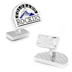 MLB Mens Palladium Colorado Rockies Cufflinks with Collectible Gift Box
