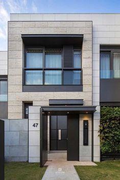 Urban Apartment, Apartment Plans, One Bedroom Apartment, Casa Retro, Balcony Railing Design, Townhouse Designs, House Elevation, Loft Design, Built In Shelves