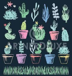 ArtnerDluxe Illustrator and Vector Artist Succulent Garden and Grass chalk drawi. - To Art - Chalk Art Easy Chalk Drawings, Chalkboard Drawings, Chalkboard Lettering, Chalkboard Designs, Chalk Typography, 3d Drawings, Hand Lettering, Succulents Drawing, Cactus Drawing