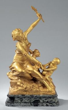 Raoul Larche, Bacchante playing with a child, date unknown, Bronze, 50,5 cm, Private collection