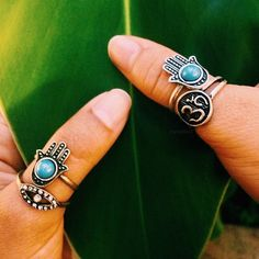 Om, Hamsa, and Evil Eye ring set Hipsters, Boho Jewelry, Jewelry Box, Jewlery, Boho Rings, Jewelry Ideas, Evil Eye Ring, Boho Accessories, Estilo Boho