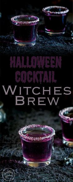 This 'Witches Brew'- halloween cocktail is so stunning. Based on a Purple Hooter, the vivid colour is dramatically beautiful, but with a dark eerie feel perfect for a halloween party. Recipe from Sprinkles and Sprouts | Delicious food and drink for easy entertaining.