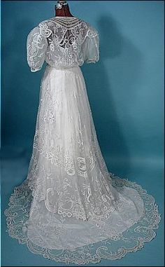 Back view of a 1930s Wedding Gown of white lace. Created from a circa 1905 era gown.