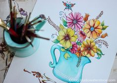 my sketchbook: floral with turquoise vase by Studio Waterstone, via Flickr