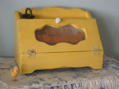 Shabby Rustic Vintage Wood Bread Box Upped in Golden Yellow & Distressed