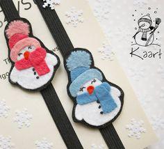 Bałwanki dwa ⛄⛄ #snowman #bałwan #handmade #rękodzieło #filc #felt #feltcraft #felting #feltsnowman #bookmark #feltbookmark #zakładkadoksiążki #zakładka