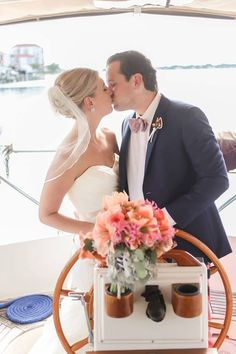 Isla Del Sol Yacht and Country Club, St Petersburg, FL, Bride and Groom, Outdoor Wedding, Nautical Wedding, Navy and Pink, Iza's Flowers, Inc.