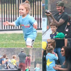 : Harper Beckham showed that athleticism runs in the family as she scored a goal while playing soccer with friends in LA over the weekend. David was on hand in doting dad mode, taking photos of his daughter and kicking around a ball with his older sons, Romeo, Brooklyn, and Cruz. Mom Victoria was also in sports mode in a casual t-shirt and baggy jeans. Harper's now-signature topknot kept her hair out of her face while she followed in her father's soccer-star footsteps on the