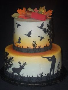 Hunter, deer, duck silhouettes cake created by: Cakes by Mom and Me, LLC
