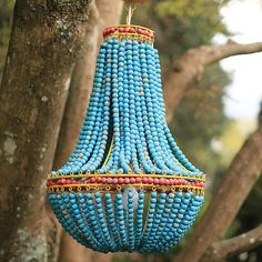 Turquoise Beaded Chandelier | Beaded Chandelier | Teal Hanging Light Fixture