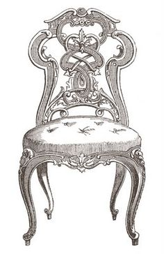 Vintage Clip Art - Pretty Paris Tufted Chairs - The Graphics Fairy
