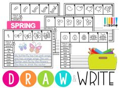 DrawWriteSpring Writing Lines, Christmas Tree And Santa, Directed Drawing, Drawing Activities, Kids Writing, Vocabulary Words, Writing Prompts, Ebook Pdf, Sentences