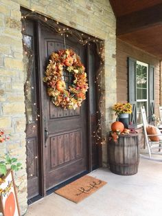 Imaginative Fall Porch Decorating Ideas to Make Yours Unforgettable Crazy images of fall porch decorations to refresh your home Porch Decorating, Decorating Ideas, Decor Ideas, Rustic Lighting, Lighting Ideas, Front Door Decor, Front Doors, The Ranch, Autumn Home