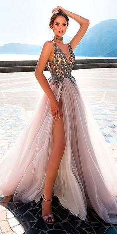 Sexy V Neck Grey Tulle Party Dress with Beaded, Long Prom Dresses 2019 - Bridal Gowns Party Dresses Online, Lace Party Dresses, Lace Dress, Evening Dresses, Purple Wedding Dresses, Light Purple Prom Dress, Grey Formal Dresses, Dress Online, Dresses Dresses