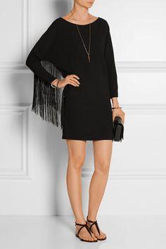 Maje|Rodeo fringed crepe mini dress|NET-A-PORTER.COM