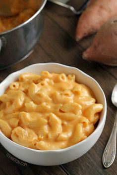 This Sweet Potato Macaroni and Cheese can be made whole wheat or gluten-free and tastes just like regular macaroni and cheese!