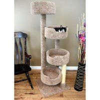 1 Piece Light Brown 65 Inches High Comfort Scratcher Cat Condo, Brown Color Pet Stairway Tower Tree Round Perch Bed Kitty House, Unique Cozy Relax 4 Spacious Perches Carpet, Sisal Rope Wood *** Check out this great product. (This is an affiliate link) Cool Cat Trees, Diy Cat Tree, Cat Tree Condo, Cat Condo, Cat Tree Plans, Carpet Cover, Cat Perch, Cat Towers, Wood Cat
