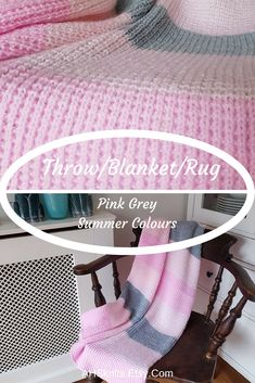 Pink Grey Stripe Throw, Knitted Lap Blanket, Boho Chair Throw, Acrylic Easy Care Sofa Wrap, Pastel Colour Mini Blanket, Pink Gift For Her AHSknits.etsy.com