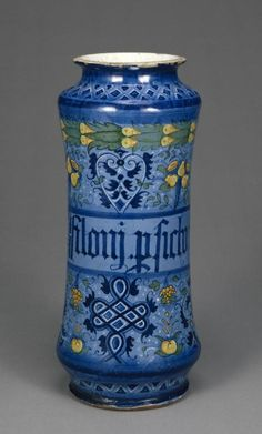 Drug Jar for Persian Philonium Maker Name: Unknown  Decorative Arts  Tin-glazed earthenware Created: Faenza, Emilia-Romagna, Italy,  Date: about 1520 - 1540 J. Paul Getty Museum