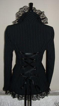 coat jacket black blue pinstripe victorian gothic by darkestdreams, $56.00