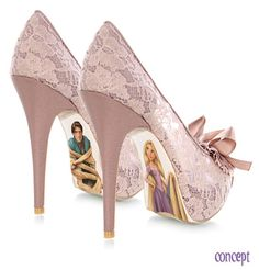 Vamers - G-Life - Sexy Shoes Inspired by Disney Princesses - Tangled - Rapunzel and Flynn High Heels possible wedding shoes? Pretty Shoes, Cute Shoes, Me Too Shoes, Fancy Shoes, Beautiful Shoes, Disney Heels, Tangled Wedding, Designer High Heels, Hand Painted Shoes
