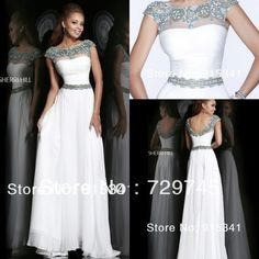 Sweet yet Cool Scoop Neck Cap Sleeves Beaded Pleating Chiffon Floor Length National Style Indian White Long Prom Dress 2014 $139.99