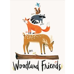 Colorfully painted Woodland Animals are stacked up tall in this whimsical art print. Perfect for children's rooms or classrooms, this standard sized print is ready-to-frame on arrival. :: archival dig