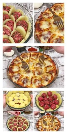 Boil potatoes and slice them arrange with meatballs and cheese and bake for a delicious french treat – Artofit Russian Recipes, Turkish Recipes, Meat Recipes, Cooking Recipes, Healthy Recipes, Good Food, Yummy Food, Easy Meals, Food And Drink
