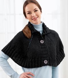 Top Down Button Front Capelet - Free Knitted Pattern - (joann)