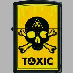 Toxic - hazardous yellows and greens with deep black Toxic symbols and the skull and crossbones, available in Europe.