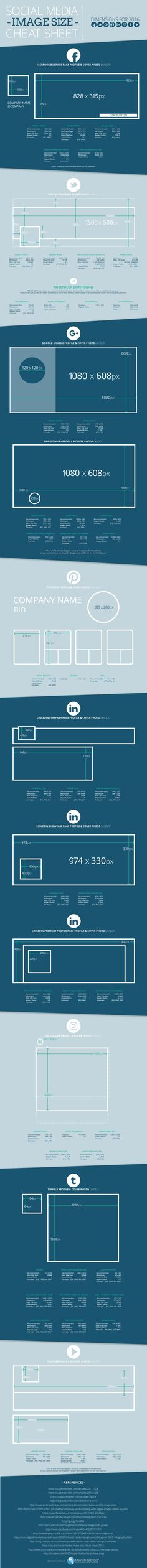 Tamanhos de imagens para Redes Sociaisl 2016 | Social Media Image Sizes for 2016…