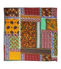 "Souleiado - Cotton Scarf - Foulard Bandana provençal coton ""San Francisco"" orange 60x60 cm"