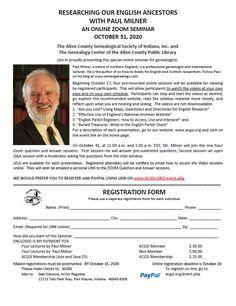 Northern England, Online Registration, October 31, Family History, Genealogy, Indiana, Pdf, Printable, English