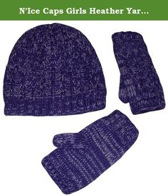 N'Ice Caps Girls Heather Yarn Cable Knit Hat and Half Glove Set With Fleece Lining (4-12yrs, Purple). Nice Caps TM girls wrist glove and beannie cable knitted set with fleece lining. Heathered yarn colors each have white stream for richer look. Great quality and comfort. Colors: black heather, fuchsia heather, purple heather, charcoal grey heather, lt brown heather, red heather. Sizes: one size fits 4-12yrs, one size fits Teen/adults. Tested and approved as per CPSIA standards. Designed…