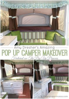 Pop Up Camper Remodel: Amy's Pop Up Makeover.  This is an awesome camper remodel.  They remodeled everything in this pop up trailer...  cushions, curtains, flooring, countertops.  So awesome!