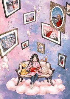 Illustration by Korean artist Aeppol. Cartoon Kunst, Cartoon Art, Art And Illustration, Illustrations, Forest Girl, Reading Art, Girl And Dog, Anime Art Girl, Cute Drawings