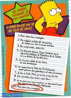 10 bonnes excuses pour ne pas faire ses devoirs